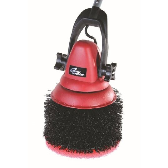 Motor scrubber baseboard-skirting brush