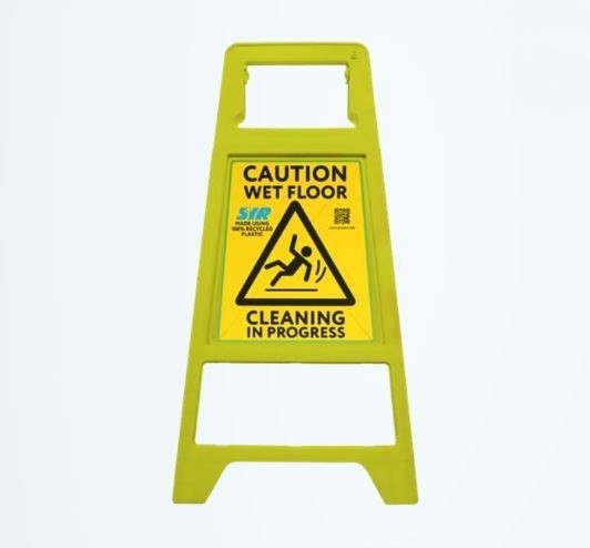 Yellow A-Frame Sign Caution Wet Floor & Cleaning in Progress - Recycled Plastic