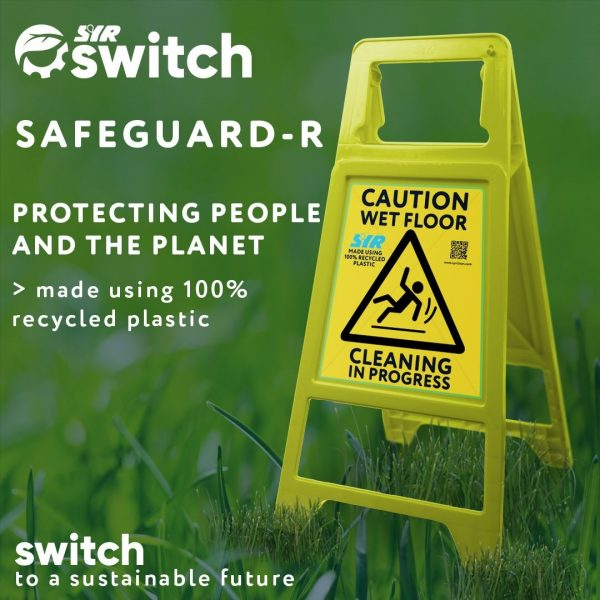 Yellow A-Frame Sign Caution Wet Floor & Cleaning in Progress - Recycled Plastic & Fully Recycleable