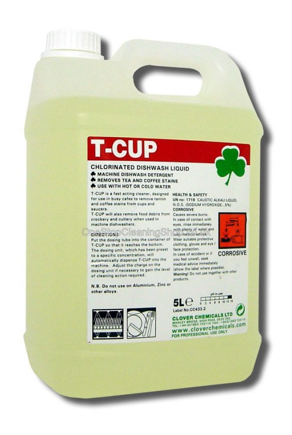 T-CUP TANNIN REMOVER CLOVER CHEMICAL DISHWASHER STAINS