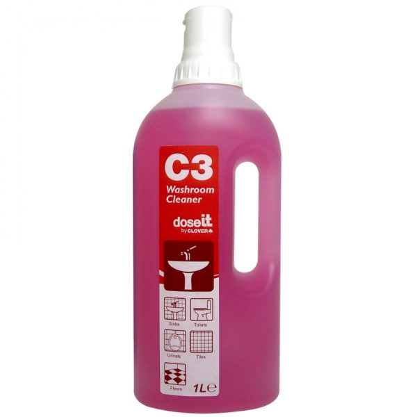 1L C3 Dose IT Super Concentrated Bathroom Cleaner Red - 1 Dose per Trigger Spray
