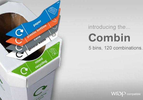 Combin - 5 Corrugated Cardboard/Plastic Reclycling Bins + 25 stickers