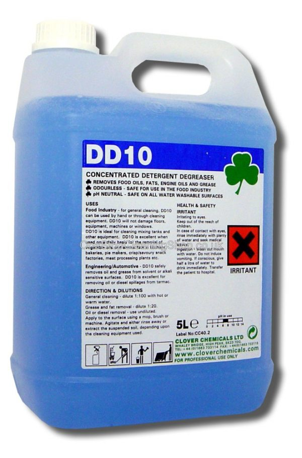 DD10 DETERGENT DEGREASER CLEANER CLEANING CLOVER CHEMICALS