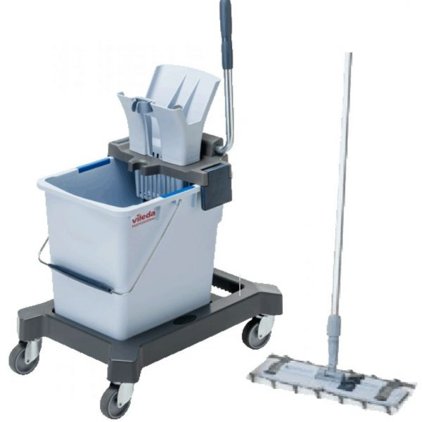 Vileda Ultraspeed Professional Mopping Kit includes 25L Bucket, Press Wringer, Wheeled Base, Mop Frame, 1 x Microfibre Mop & Standard Mop Handle