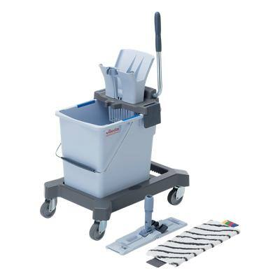 Vileda 25L UltraSpeed Mop Kit on Castors includes Bucket, Wringer, Wheeled Base, Mop Frame, 1 x Microfibre Mop - NO HANDLE