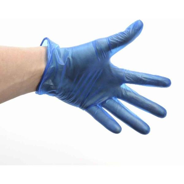 Pk of 100 Blue Vinyl Powder Free Gloves