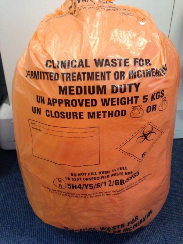 CLINICAL WASTE SACK ORANGE MEDICAL RUBBISH BIN BAG
