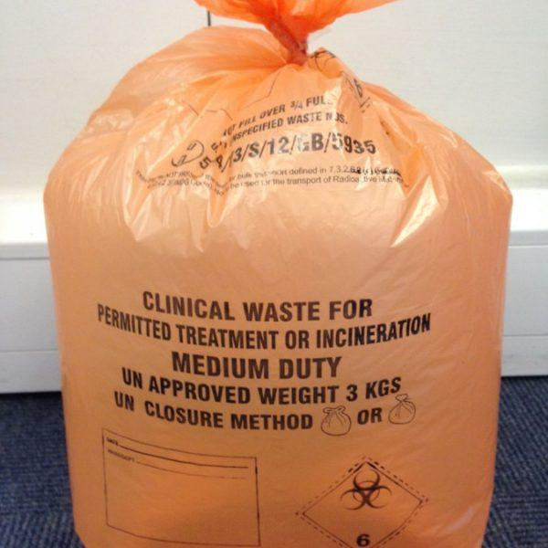 "500 Clinical Waste Sacks Orange Rated for 3Kg Size 11"" x 17"" x 26"""
