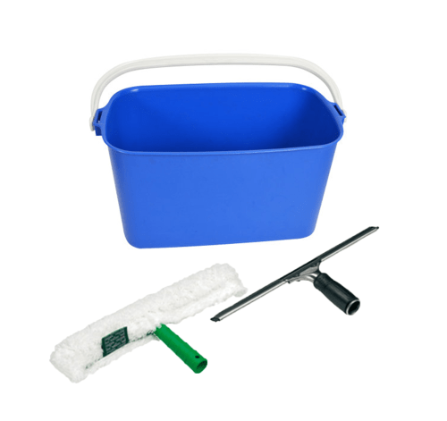 Window Outdoor Kit (1 Squeegee, 1 applicator/w sleeve + Blue Oblong Bucket)