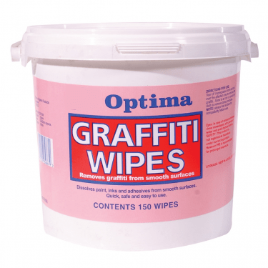1x Tub of Graffiti Wipe 150 Wipes - suits smooth surfaces - removes ink, paint, marker pen