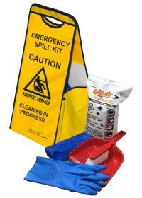 Spill Sign Caddy Kit - Incls Carry Sign, 5L Spill Aid, DustPan and Brush, Gloves and Sacks