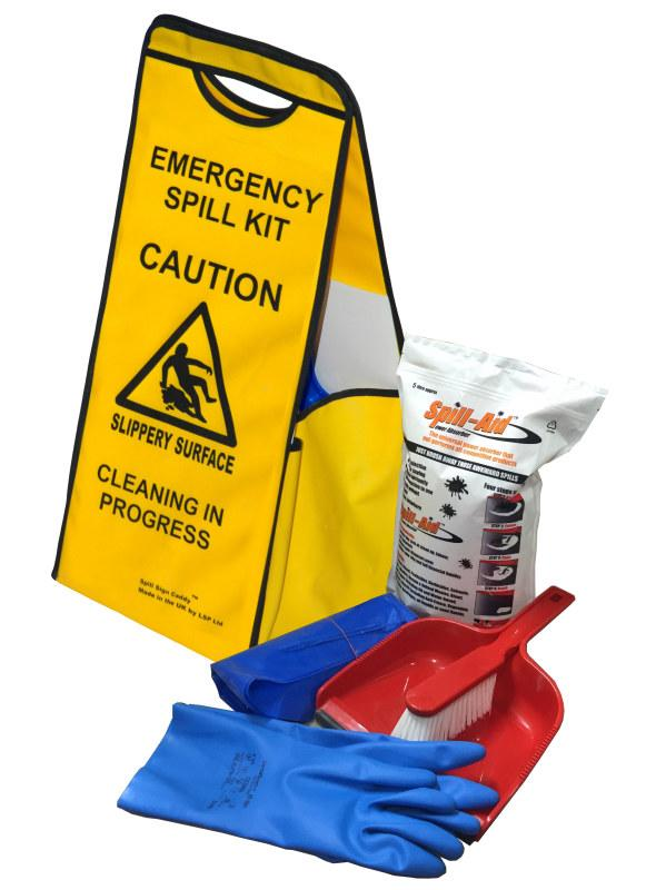 SPILL SIGN CADDY KIT SPILLS CLEANING CLEAN UP