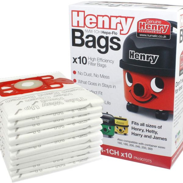 Pk of 10 NVM-1CH Genuine Numatic Henry Hepa-Flo Filter Bags