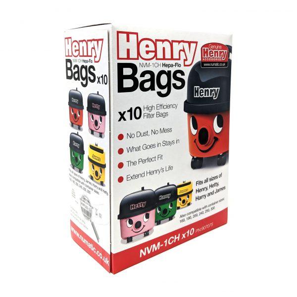 Pk of 10 1CH Branded Genuine Hepa Flo Bags fits Henry James NRV200