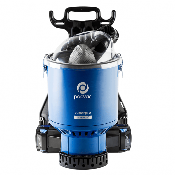 Pacvac VB700B Battery Backpack Vac c/w 4 Batteries