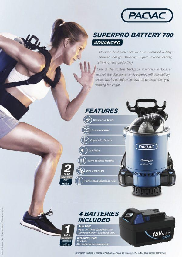 Pacvac Battery Backpack Vac, with four batteries (available March 2019)