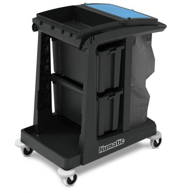 Providing the benefit of enclosed storage in a compact design, the ECO-Matic EM2 offers a generous 120L waste facility, 2 deep storage drawers and top storage tray for all your cleaning equipment and supplies.