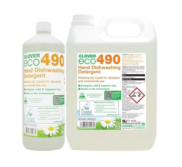 Clover ECO 490 Hand Washing Detergent 1 Litre and 5 litre Bottles