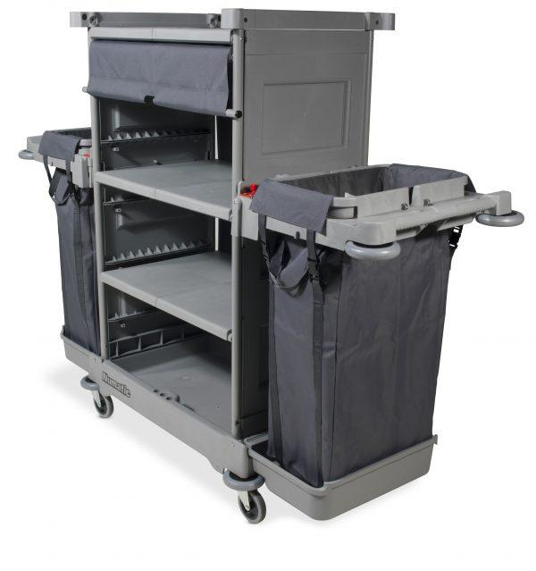NKT2 Tall Housekeeping Trolley with 3 Shelves 2 x Laundry Bags 58 2x 1783 x 1352mm
