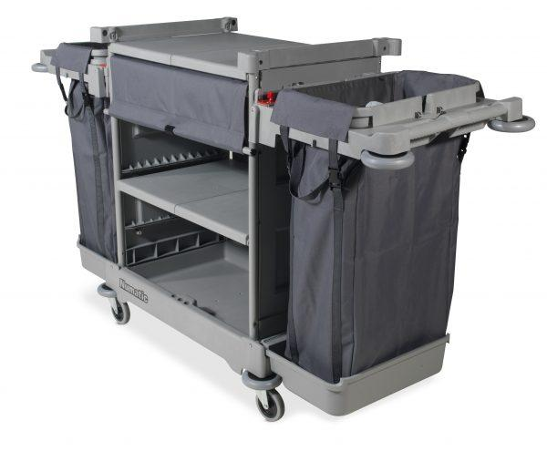 NKT2LL Short Housekeeping Trolley c/w 3 Shelves & 2 x Laundry Bags 582 x1783 x1026mm