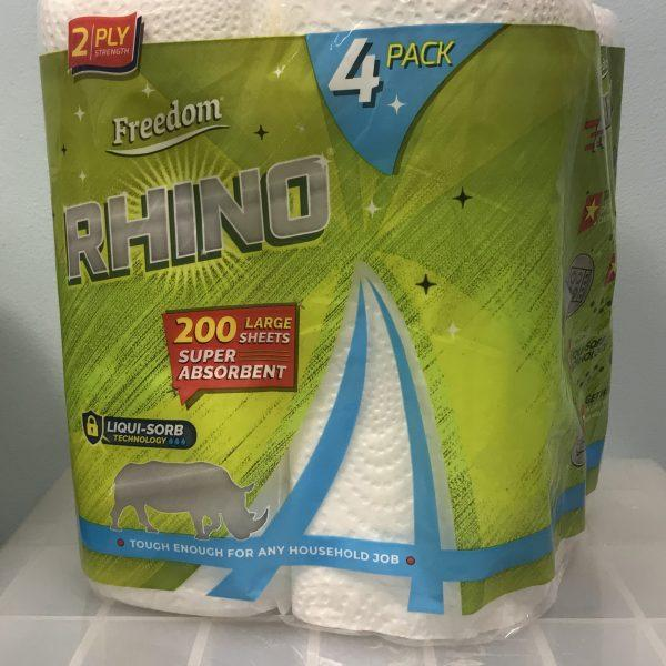 Rhino Kitchen Rolls 6 x Pks of 4 White 2 Ply 50 Sheets