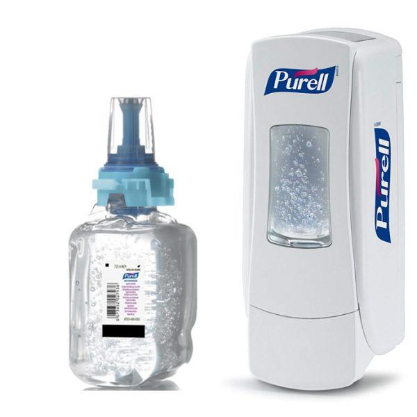 Purell ADX-7 Hygienic Hand Rub 4x 700ml with FREE Dispenser