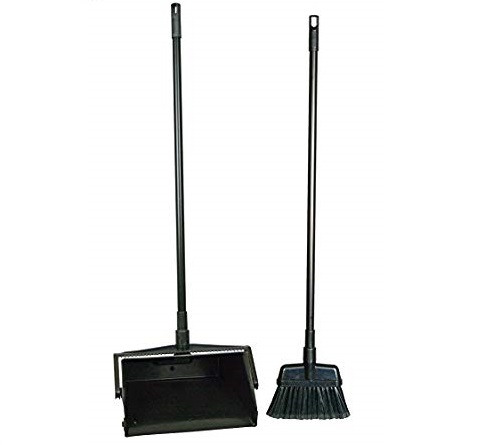 Black Plastic Lobby Dust Pan with Brush
