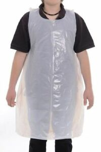 100 White Disposable Aprons Flat Packed