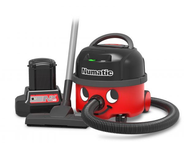 Numatic NBV190NX Battery Henry Hoover Front View with Battery and tools