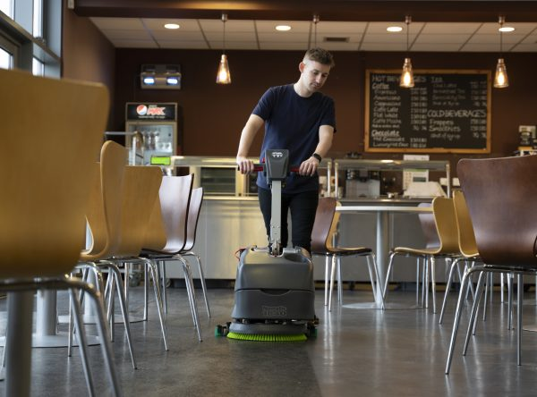 TTB1840NX scrubber dryer being used to clean a restaurant floor