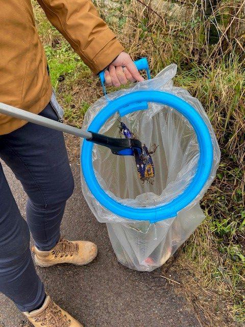 litter going into a sack through a bag hoop
