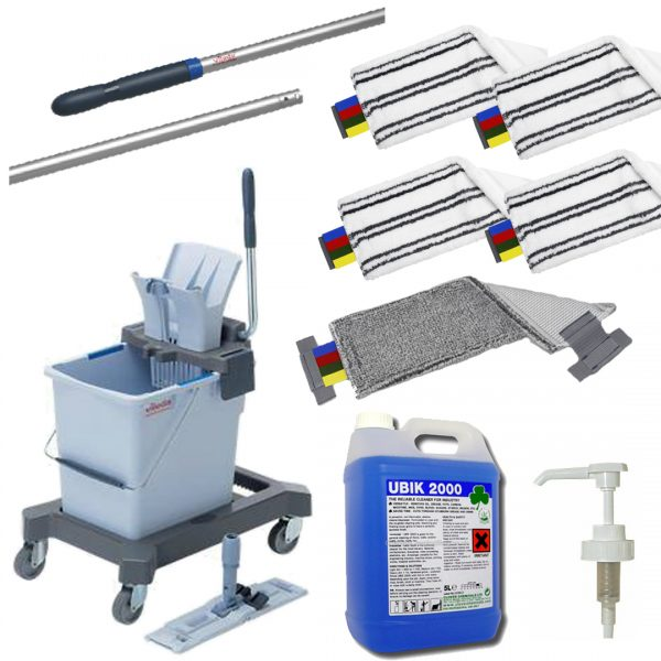 large flat mopping kit for cleaning safety floor