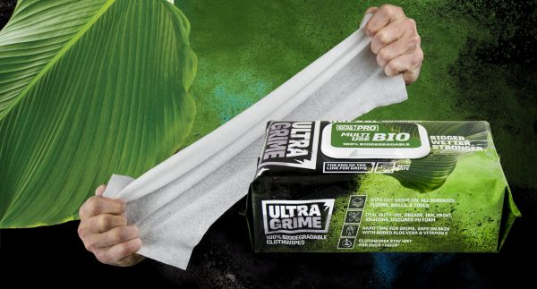 ultra grime wipes with hands stretching the wipe